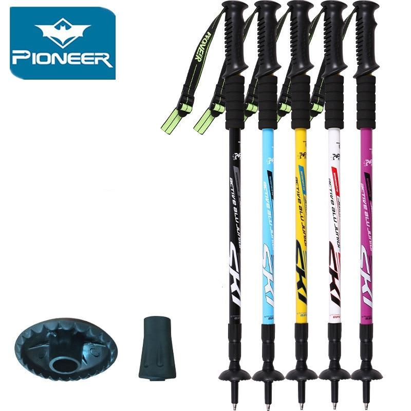 Pioneer Trekking Ski Pole Walking Stick կարգավորելի արշավային Alpenstock ցնցում Ալյումինե Նվաճելով Լեռնադահուկային ճամբարային հեռադիտակի ճարմանդ