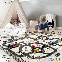 モダンなスタイル130*100センチメートル子供ポータブル車の都市のシーンtaffic高速道路地図教育おもちゃ子供のためゲーム道路カーペット