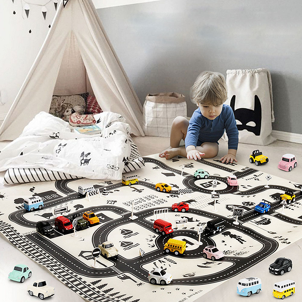 Modern Style <font><b>130*100CM</b></font> Kids Portable Car City Scene Taffic Highway Map Play Mat Educational Toys For Children Games Road Carpet image