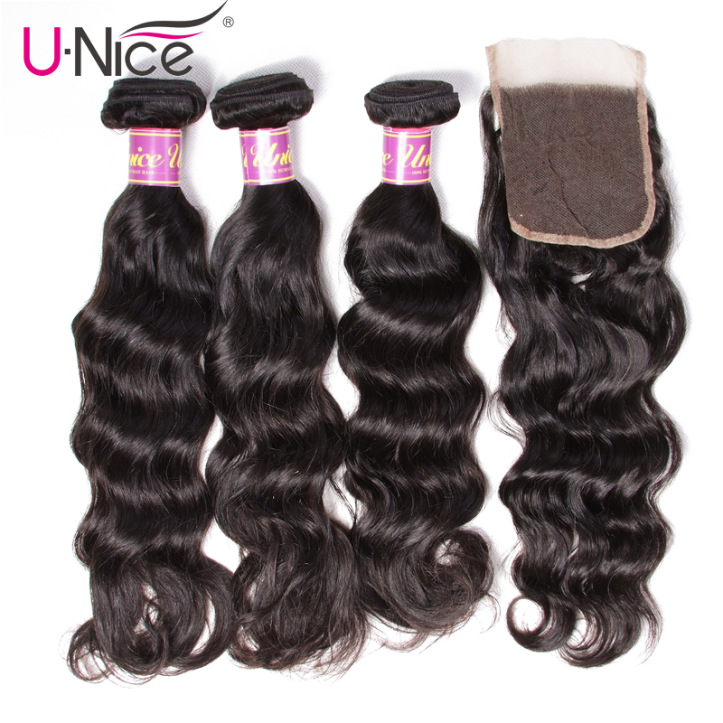 UNICE HAIR Natural Wave Peruvian Hair Bundles with Closure Remy Human Hair Weaves with Closure 4