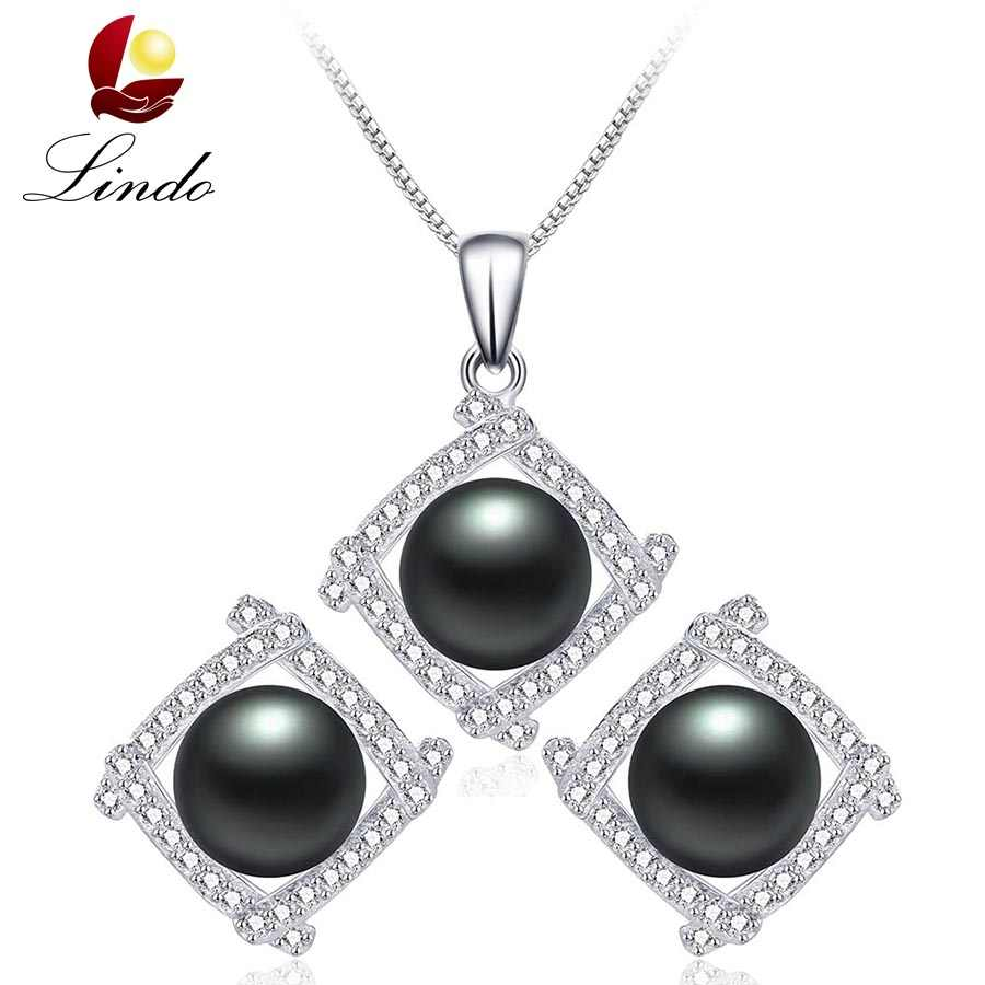 Black Natural Freshwater Pearl Jewelry Sets For Women Fashion 925 Sterling Silver Pendant+Earrings Luxury Fine Wedding Jewelry