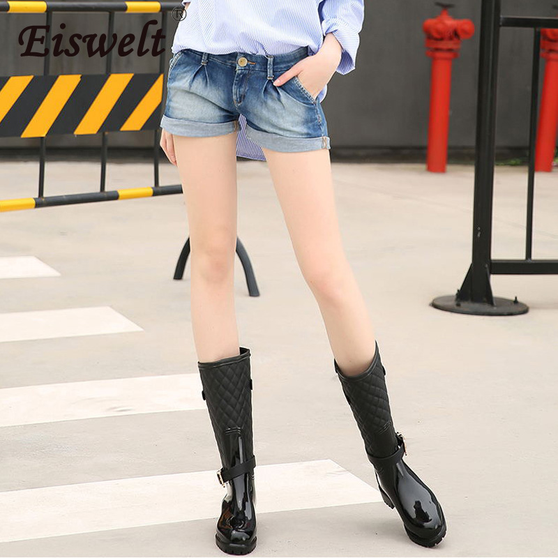 EISWELT 2017 New Women Leather Boots Mid-calf Boot Women Waterproof Rubber Rain Boots Fashion Buckle Ladies Water Shoes#ZQS165 wellies polka dot breathable belt single shoes wading mid calf fashion gum canister rain womens boots women colorful antiskid