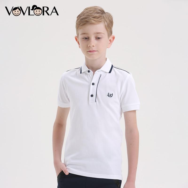 Boys Polo Shirt Summer White Cotton Kids Polo Shirt Tops School Blue Children Clothes Casual 2018 Size 7 8 9 10 11 12 13 14 Year