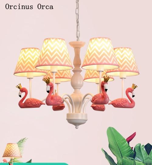Pastoral Creative Pink Flamingo Chandelier Girl's Bedroom Children's Room Light Modern Simple LED Colored Bird Chandelier