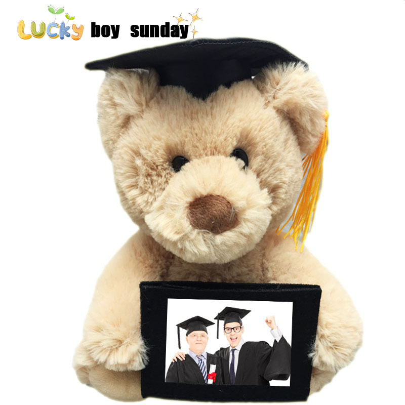 Graduation Gift Plush Bear With Photo Memory Keepsake Teddy Bear Plush Doll Dr. Bears Gift For Primary school College Students