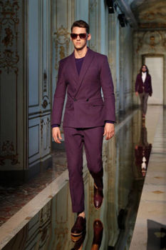 Double Breasted Men Suits Blazer With Pants Bespoke Mariage Homme Wedding Tuxedos Purple Best Man Suits (Coat+Pants+Bow)