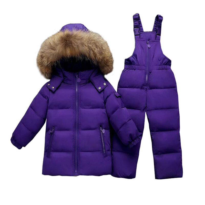 0787e7c4b1e8 2~5T Russian Raccoon Fur Children Clothing Sets Girls Winter Down Coat Boys  Jacket Children s Snowsuit Kids Outdoor Ski suit