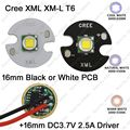 Cree XML XM-L T6 Cool White 6500K Warm White 3000K Neutral White 4500K 10W LED Emitter 16mm PCB + 16mm DC3.7V 2.5A 5 Mode Driver
