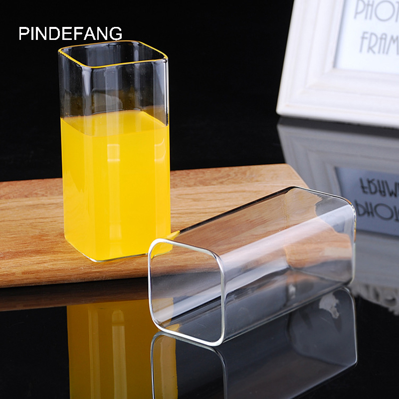 Creative <font><b>280</b></font>- 400ml Heat-resistant Glass Juice Cup in Square Shape Microwave, Dishwasher Safe Glass Milk Cup Nice Home Utensil image