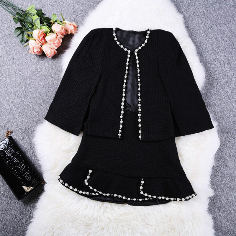 2019 Winter Spring Runway Cardigan Cape Style Beaded Jacket Femme Coat +Short Ruffles Skirt 2 Pcs Women Black Beading Skirt Set