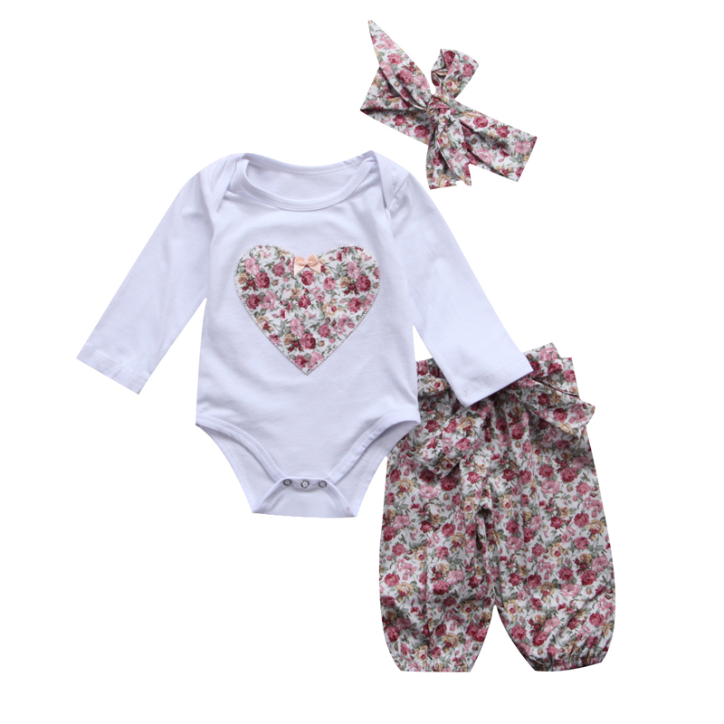New Fashion Newborn Infant Baby Girl Clothes Set Outfits Kids Clothes Set Long Floral Pants Leggings US