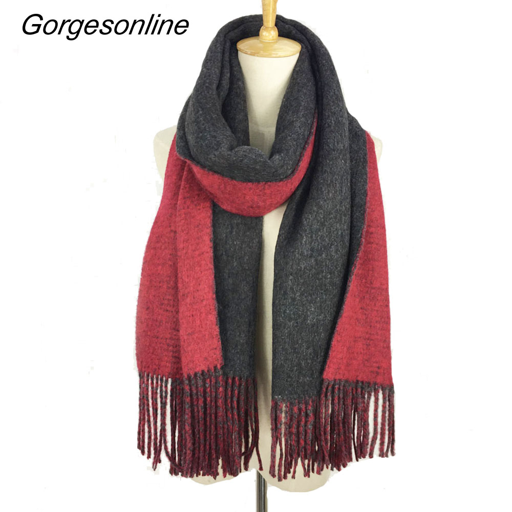 Gorgesonline Branded Cashmere Pashmina Shawl Winter Acrylic Tassel   Scarf     Wraps   Solid Color Reversible Women Fashion   Scarf