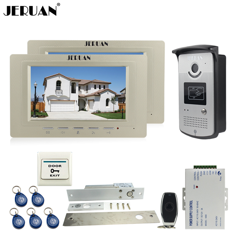 JERUAN 7 inch LCD video door phone Entry intercom system kit 700TVL RFID Access IR Night Vision Camera ELectric Drop Bolt lock