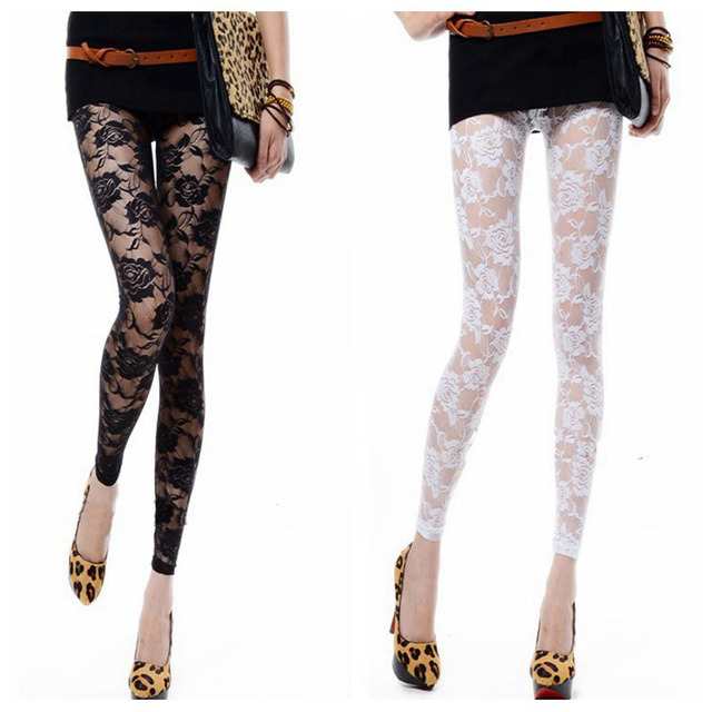 0a40352f5b8c5 New Retro Sexy Net yarn Lady Rose Lace Elegant Through Leggings Pants  Footless Black White Women. Mouse over to zoom in