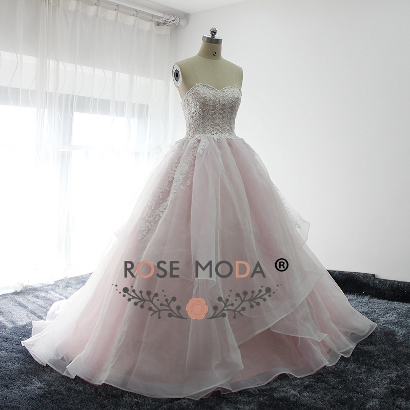Rose Moda Baby Pink Ball Gown Lace Prom Dress with Pearls Back to ...