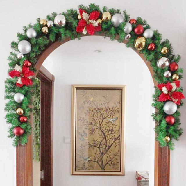 Us 22 81 2016 New Green Christmas Garland Wreath Xmas Home Party Christmas Decoration Pine Tree Rattan Hanging Ornaments 270 25cm In Christmas From