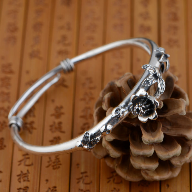 Wang Yinshi silver deer wholesale S925 Sterling Silver Bracelet exquisite flower shape hand decorated new shelves bird leaf decorated bracelet