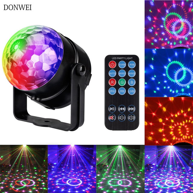 mini 7 colors 3w dj disco ball sound activated laser projector rgb stage lighting effect lamp christmas ktv music party light in stage lighting effect