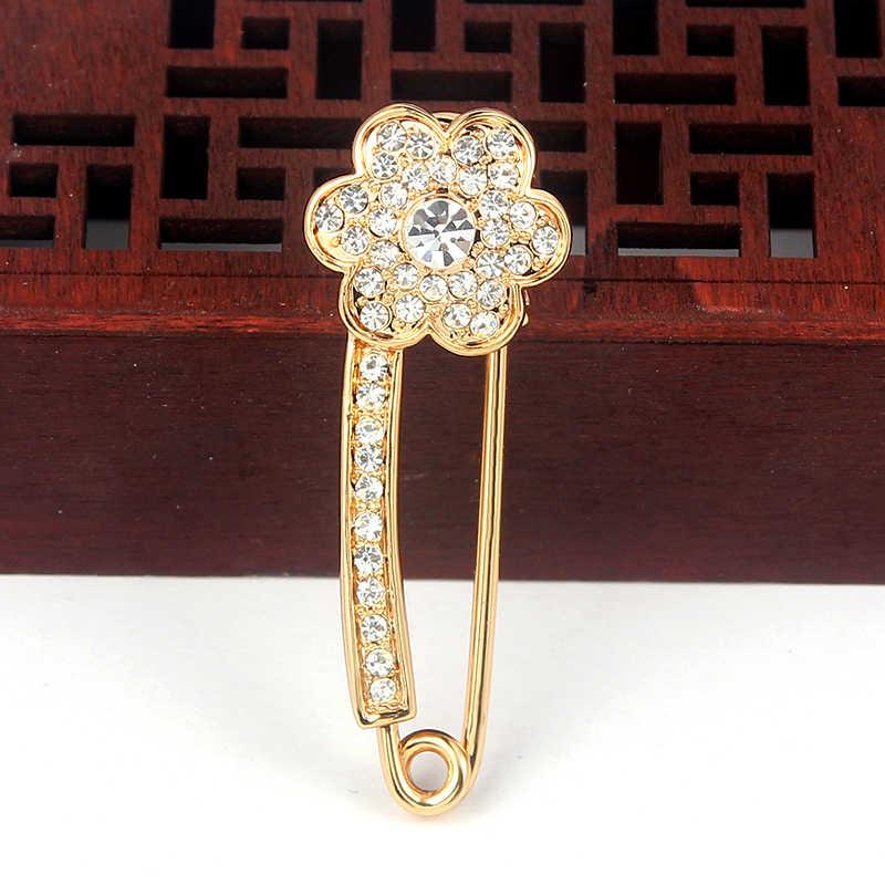 Suki Wanita Bros Pin Bunga Tembaga Pin Wanita Pria Denim Jaket Dekorasi Paving Stone Kristal Bros untuk Pernikahan Pakaian Perhiasan