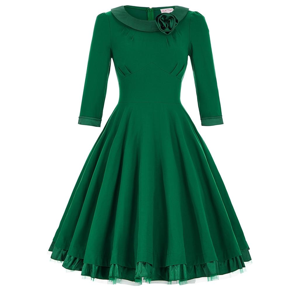 Belle Poque 3/4 Long Sleeve Rockabilly Dress 2017 Autumn Winter Round Neck Simple Big Swing Solid Midi Work Vestdios Short Dress