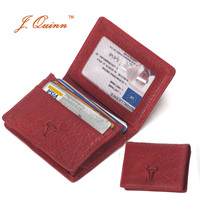J Quinn Ladies Luxury Red Business Card ID Holders Real Cow Leather Womens Slim Wallet CardHolders