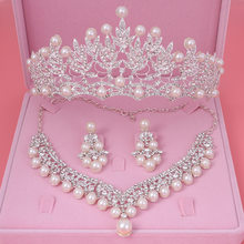Bride Crystal Pearl Costume jewelery sets New Design Rhinestone Choker Necklace Earrings Tiara Bridal Women Wedding Jewelry Set(China)