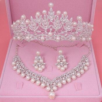 2467ce095da8 Novia perlas de cristal de traje nuevo diseño de juegos de joyas  gargantilla de diamantes de imitación