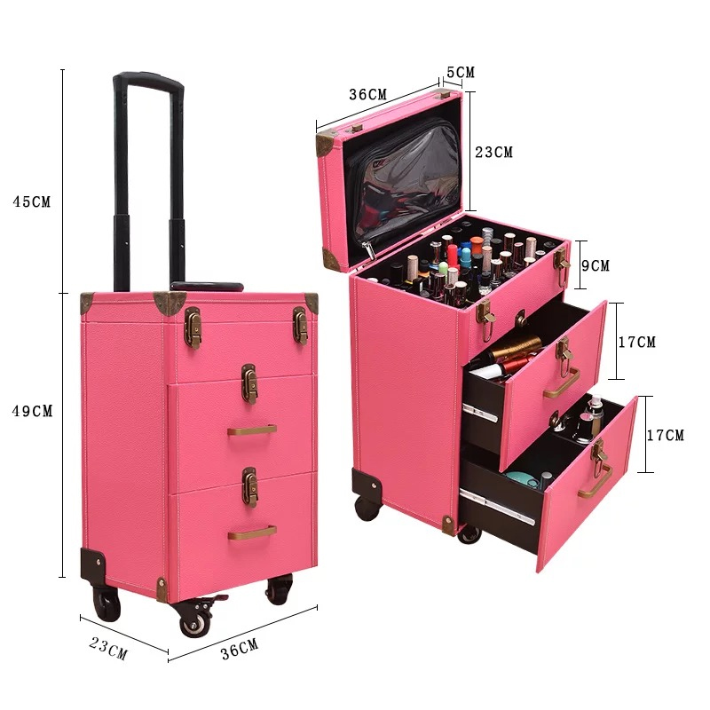 Nail tattoo trolley case Cosmetic case bags suitcase For Makeup Women multi-layer large-capacity Beauty Luggage Box with wheels