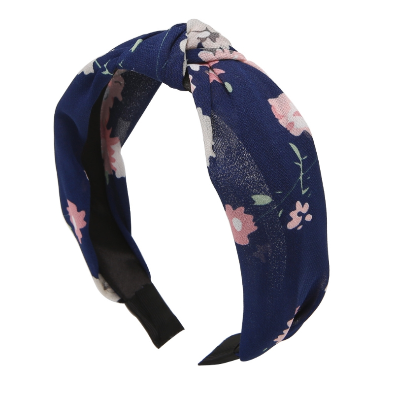 Women Girl Vintage Cloth Round Hairbands Twisted Knotted Floral Flowers Wide Hair Band Elastic Turban Fashion Hair Accessories