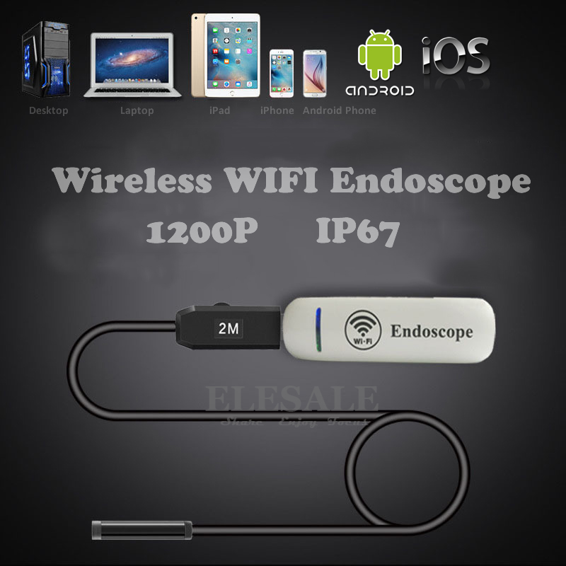 2M Cable HD 2MP 8mm Wireless Wifi Android iOS Waterproof Endoscope Industrial Inspection Borescope Camera For Car Repair eyoyo nts200 endoscope inspection camera with 3 5 inch lcd monitor 8 2mm diameter 2 meters tube borescope zoom rotate flip
