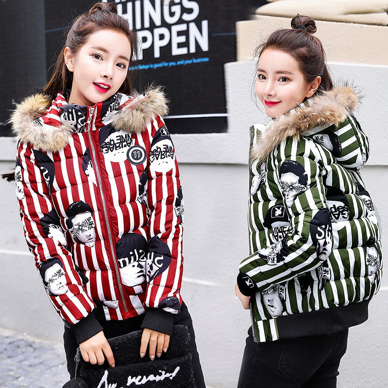 Fashion cartoon printing thick coat women winter warm down jackets lady fur collar short slim coats female graffiti parkas X7112 slim winter jackets women belt long down coat 2016 new fashion women s winter coat fur collar coats female thick warm parka y269
