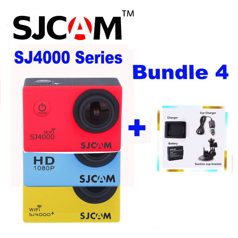 Original SJCAM SJ 4000 & SJ4000 WIFI &SJ4000 Plus 1080P HD Sports Action Camera +Extra Battery+Charger+Car Charger+Suction Cup protective frame housing case with mount base for sjcam sj4000 sj4000 wifi action camera