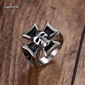 Male Silver Tone Stainless Steel Iron Cross with Skull Ring For Men Gothic Punk Rock Party Biker Jewelry Black Silver Size 7-12