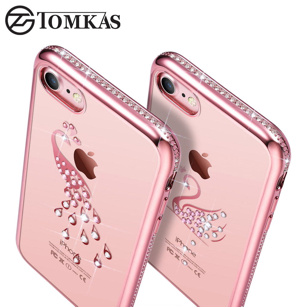 silicone cover case for iphone 7 7 plus coque bling rhinestone swan peacock tpu phone back. Black Bedroom Furniture Sets. Home Design Ideas
