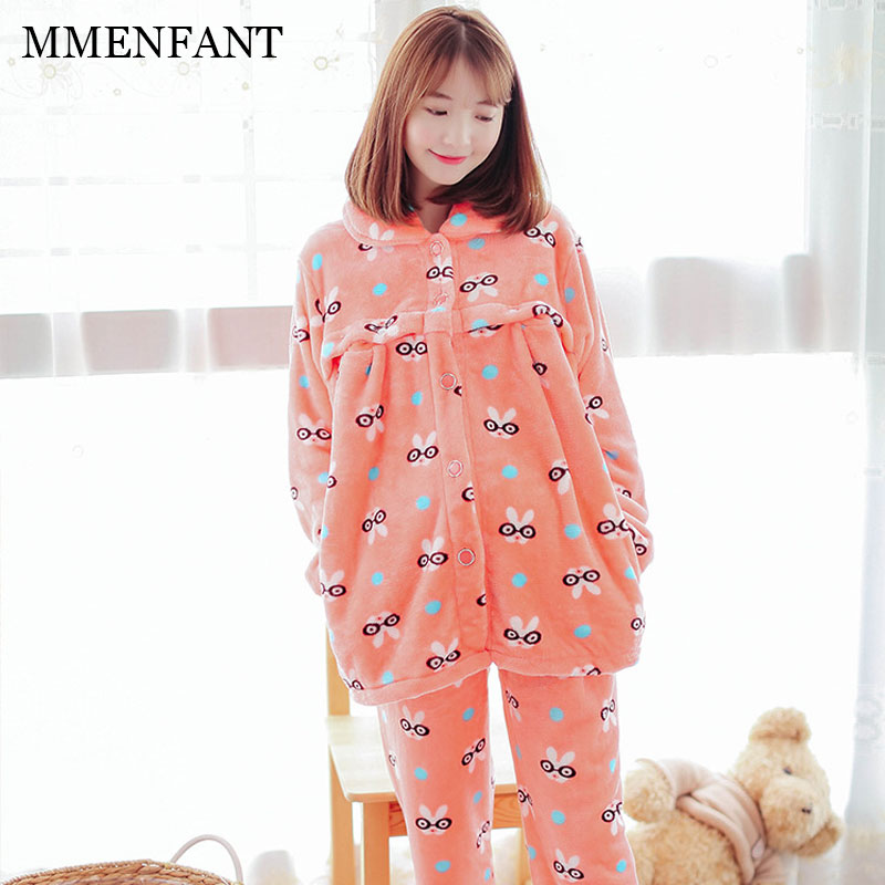 L-XXL Maternity clothes winter sets flannel pajamas breast-feeding dresses thickening warm 2pc suit women pajamas clothing sets