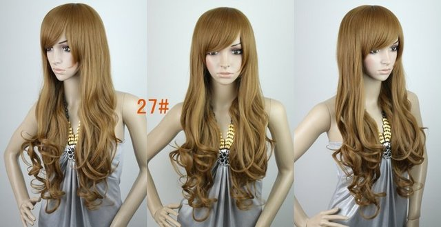 26inch 180g Silky wavy Brazilian Blended Fashion wigs/natural wigs #27,free shipping