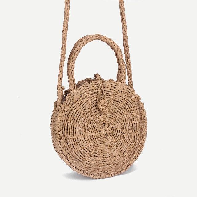 Wanita Anyaman Rotan Mini Tas Jerami Bali Bohemian Pantai Lingkaran Tas  Musim Panas Buatan Tangan Retro 84bd64b12f