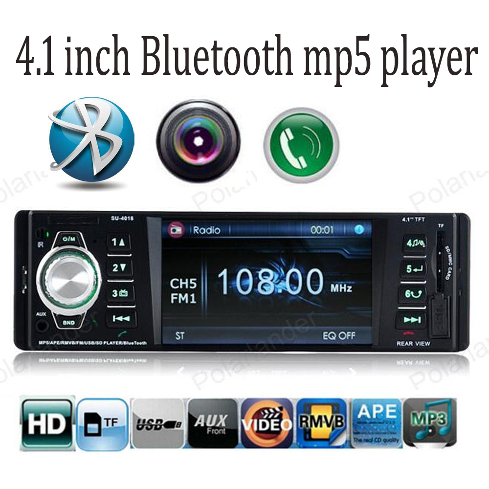 4.1 inch TFT screen car radio mp5 player Bluetooth USB / SD / AUX support Rear camera 1080P video FM 1 din stereo