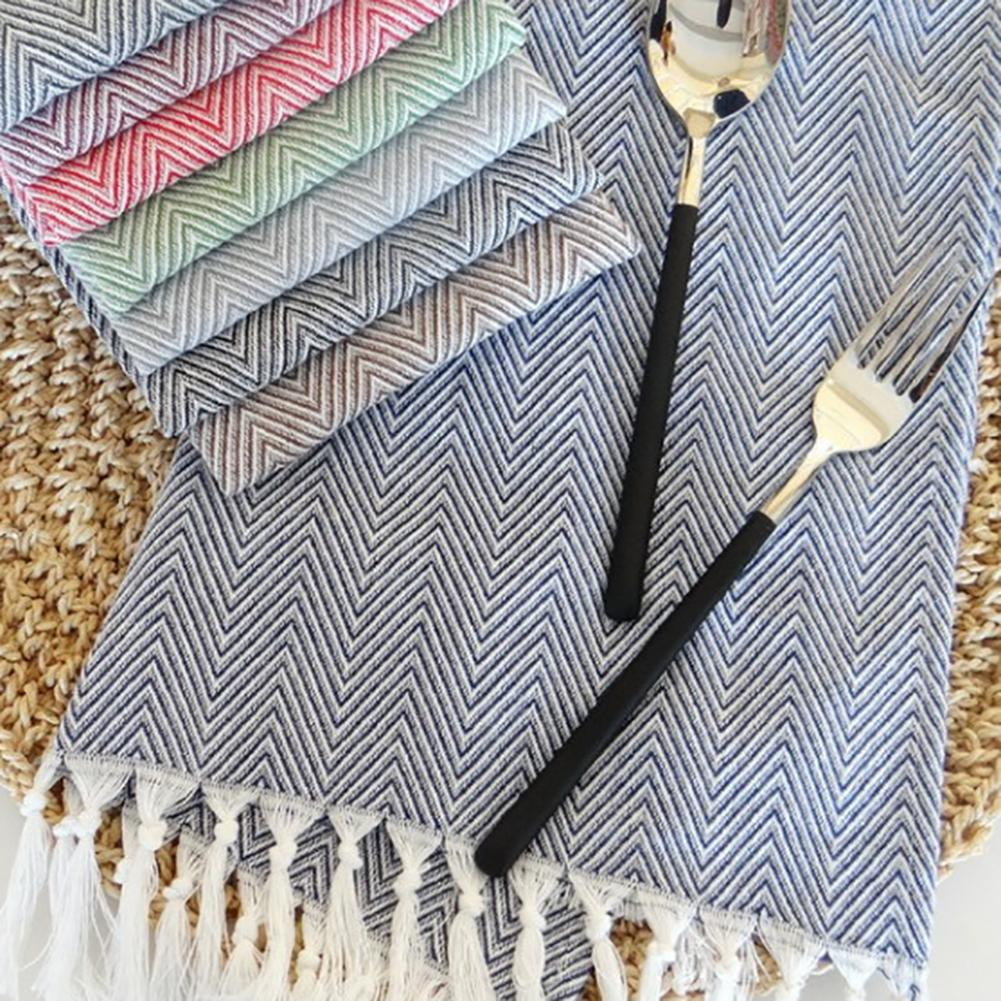 Home Textile 38x62cm 100% Cotton Table Napkin With Tassels Kitchen Towel Tableware Cleaning Cloth Dish Towel Fashion Design 100% Guarantee Home & Garden