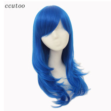 "ccutoo 65cm/26"" Blue Rose Red Golden Brown 5 Colors Medium Curly Synthetic Hair High Temperature Fiber Cosplay Full Wigs"