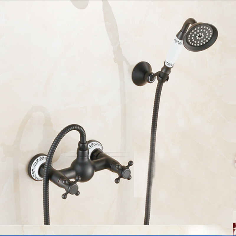 Wall Mounted Oil Rubbed Bronze Bathroom Shower Faucet Ceramic Hand Sprayer Tap allen roth brinkley handsome oil rubbed bronze metal toothbrush holder