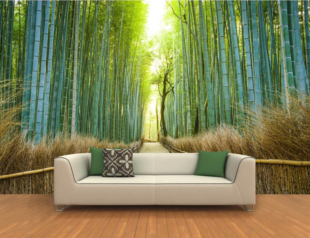 Bamboo forest 3d stereoscopic wallpape forest papel parede for Bamboo wall mural wallpaper