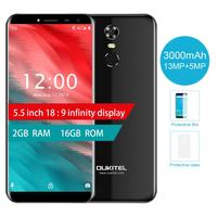Oukitel C8 5.5 18:9 Infinity Display Android 7.0 MTK6580A Quad Core Smartphone 2G RAM 16G ROM 3000mAh Fingerprint Mobile Phone