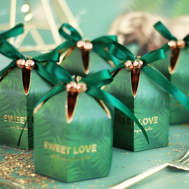 New Hexagon Yurt Style Gift Box Packaging Wedding Favors Candy Box Wedding Decoration Party Supplies Paper Bag With Ribbon&Bell