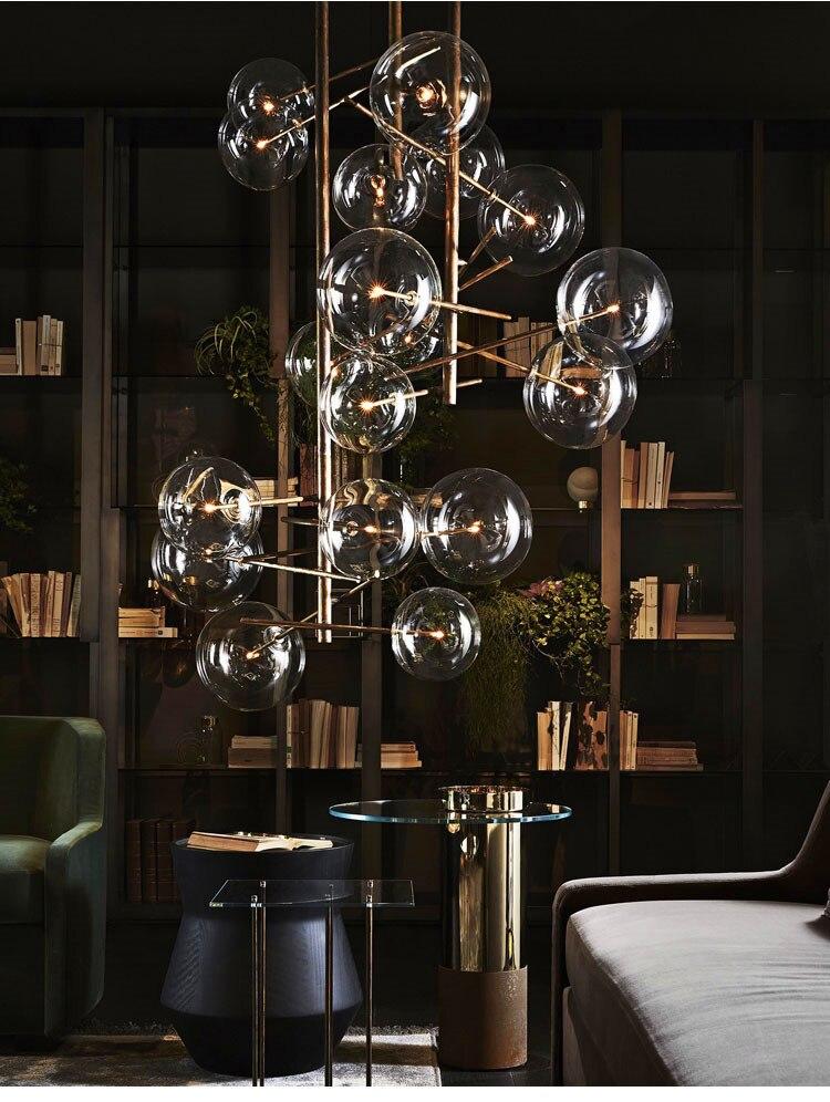 Moderne minimalistische Roterende Plafond Verlichting Led Lamp Ronde Glazen Bal Creatieve Opknoping lichten ijzer Led G4 lamp Indoor Home Bar goud - 2