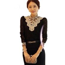 Women Clothing Long Sleeve Tshirt High Collar Chiffon Lace Shirt Casual Patchwork Lace Tops Slim Beaded Plus size Lace T shirt недорого