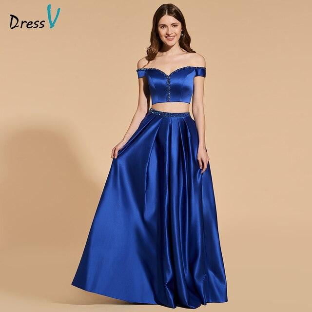 Dressv dark blue beading long prom dress crop top empire waist zipper up  simple a-line two pieces evening party gown prom dress 0c385d9a5455