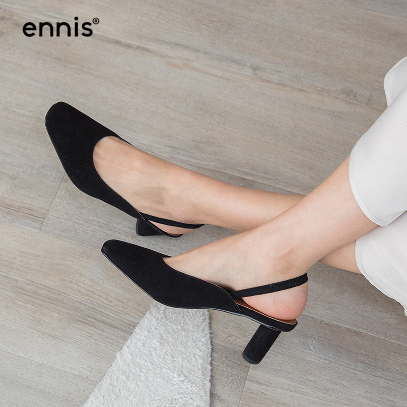 ENNIS 2019 Black Slingback Pumps Women Suede Leather Med Heel Sheepskin Shoes Camel Spring Summer Casual