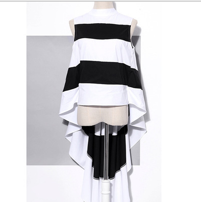 019 Spring and summer new style Women 39 s sleeveless chiffon shirt Simple and stylish stand up collar striped chiffon top in T Shirts from Women 39 s Clothing