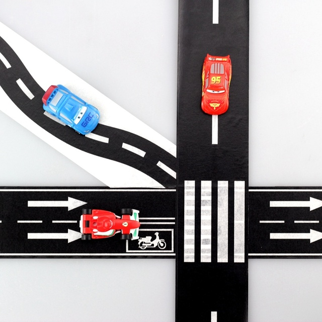Nouveau 1X50.8mm * 5 m Route Ferroviaire Washi Bande, wide créatif trafic route Adhésif Du Ruban Adhésif, scotch route pour enfants jouet de voiture jouer